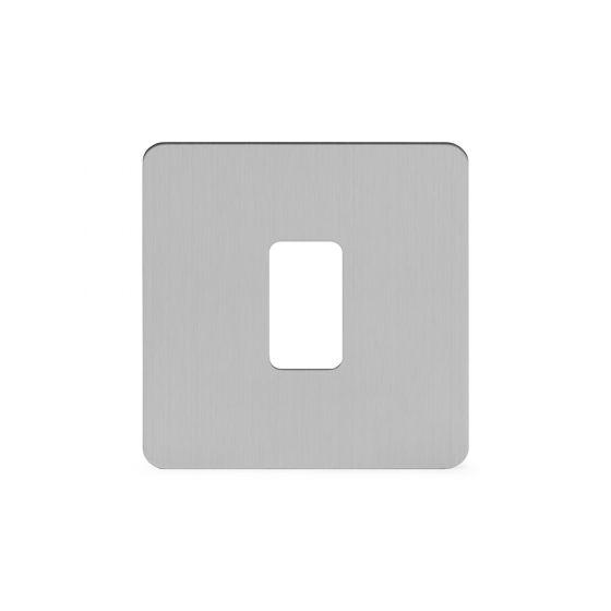 Soho Lighting Brushed Chrome Flat Plate 1 Gang Grid Plate Screwless