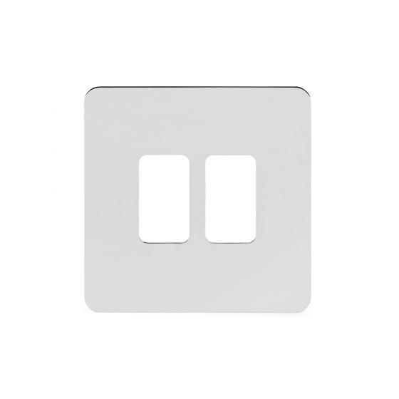 Soho Lighting Polished Chrome Flat Plate 2 Gang Grid Plate Screwless