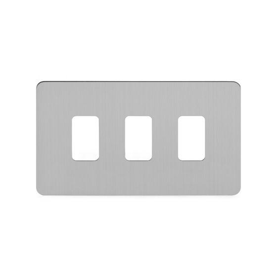 Soho Lighting Brushed Chrome Flat Plate 3 Gang Grid Plate Screwless