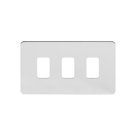 Soho Lighting Polished Chrome Flat Plate 3 Gang Grid Plate Screwless