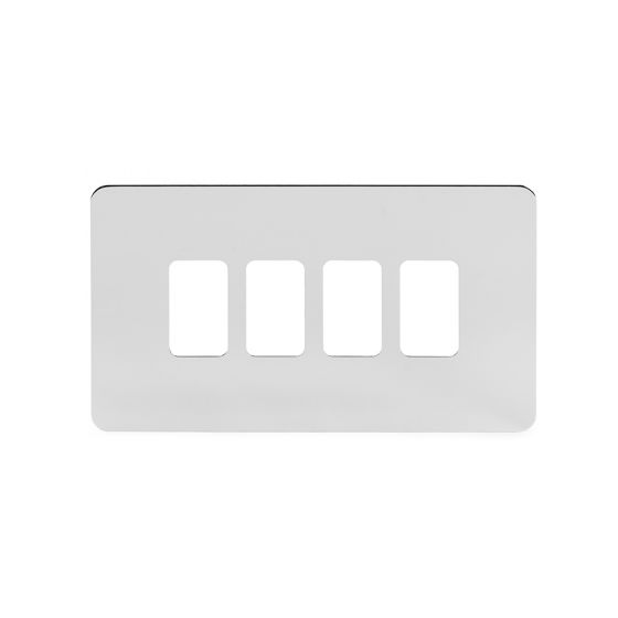Soho Lighting Polished Chrome Flat Plate 4 Gang Grid Plate Screwless