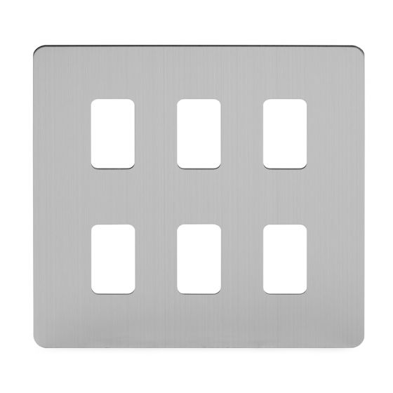 Soho Lighting Brushed Chrome Flat Plate 6 Gang Grid Plate Screwless