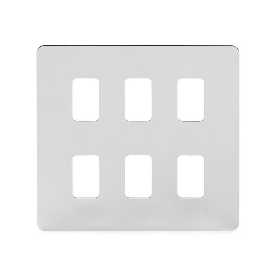 Soho Lighting Polished Chrome Flat Plate 6 Gang Grid Plate Screwless