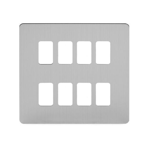 Soho Lighting Brushed Chrome Flat Plate 8 Gang Grid Plate Screwless