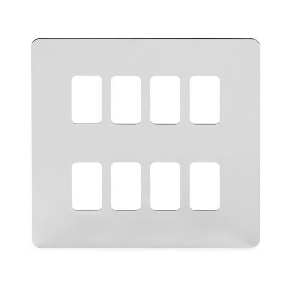 Soho Lighting Polished Chrome Flat Plate 8 Gang Grid Plate Screwless
