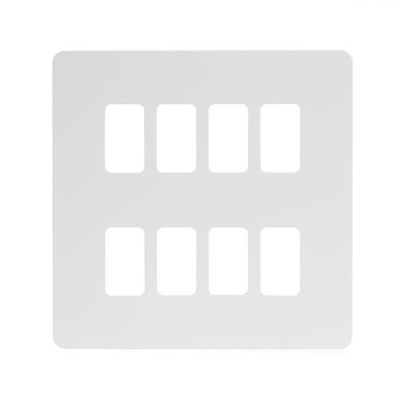 Soho Lighting White Metal Flat Plate 8 Gang Plate Wht Ins Screwless