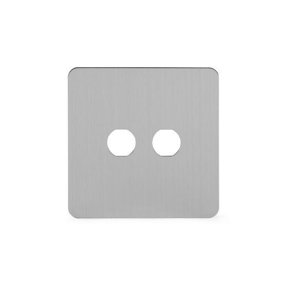 Soho Lighting Brushed Chrome Flat Plate 2 Gang Toggle Plates Screwless
