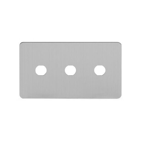 Soho Lighting Brushed Chrome Flat Plate 3 Gang Toggle Plates Screwless