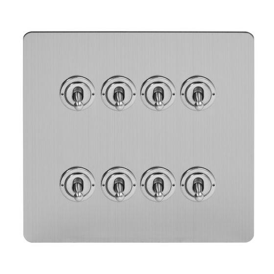 Soho Lighting Brushed Chrome Flat Plate 8 Gang Toggle Light Switch 20A 2 Way Screwless