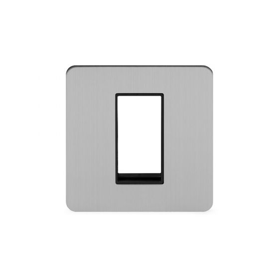 Soho Lighting Brushed Chrome Flat Plate Single Data Plate 1 Module Blk Ins Screwless