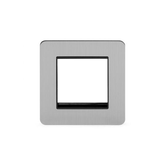 Soho Lighting Brushed Chrome Flat Plate Single Data Plate 2 Modules Blk Ins Screwless