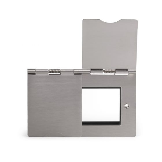 The Lombard Collection Brushed Chrome 2 Gang Euro Floor Plate Blk Ins Screwless