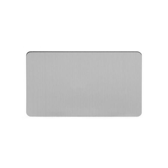 Soho Lighting Brushed Chrome Flat Plate Double Blank Plates Screwless