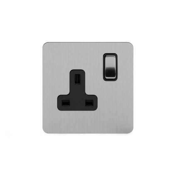 Soho Lighting Brushed Chrome Flat Plate 13A 1 Gang Switched Socket