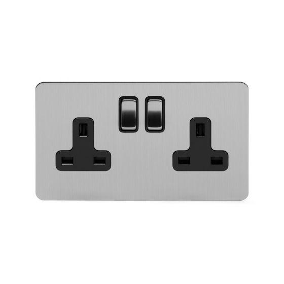 Soho Lighting Brushed Chrome Flat Plate 13A 2 Gang Switched Socket