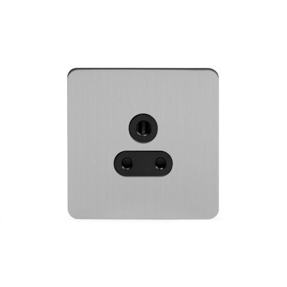 Soho Lighting Brushed Chrome Flat Plate 5 Amp Unswitched Socket Blk Ins Screwless