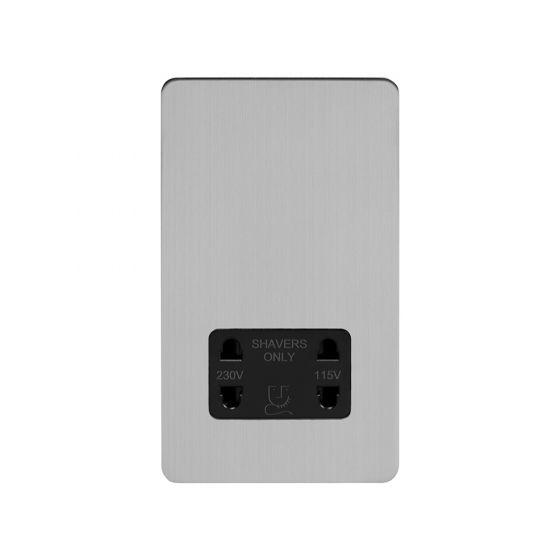 Soho Lighting Brushed Chrome Flat Plate Shaver Socket 230/115V Plate Blk Ins Screwless