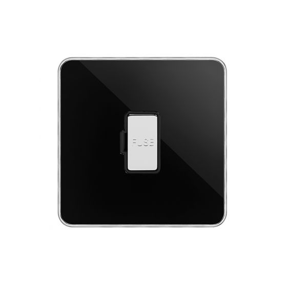 Soho Fusion Black Nickel & Polished Chrome With Chrome Edge 13A Unswitched Fused Connection Unit (FCU) Black Insert Screwless