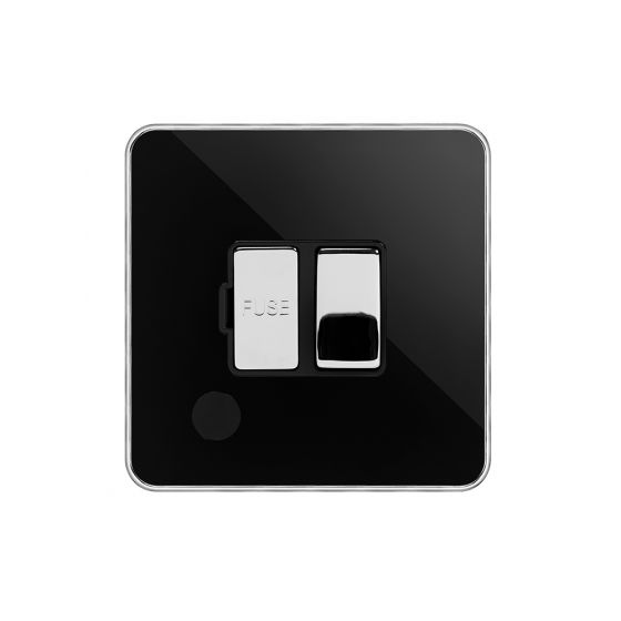 Soho Fusion Black Nickel & Polished Chrome With Chrome Edge 13A Switched Fuse Flex Outlet Black Insert Screwless
