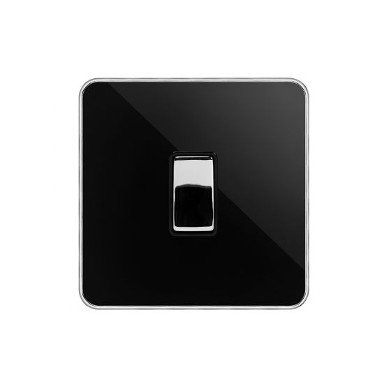 Soho Fusion Black Nickel & Polished Chrome With Chrome Edge 20A 1 Gang DP Switch Flex Outlet Black Insert Screwless