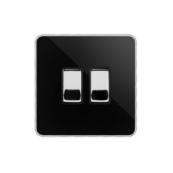 Soho Fusion Black Nickel & Polished Chrome With Chrome Edge 2 Gang Switch with 1x Intermediate Switch & 10A 2 Way Switch Black Insert Screwless