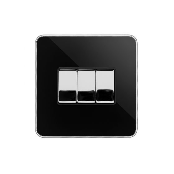 Soho Fusion Black Nickel & Polished Chrome With Chrome Edge 10A 3 Gang 2 Way Switch Black Insert Screwless
