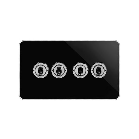Soho Fusion Black Nickel & Polished Chrome With Chrome Edge 20A 4 Gang 2 Way Toggle Switch Screwless
