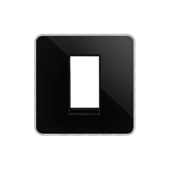 Soho Lighting Black Nickel Plate with Chrome Edge Single Data Plate 1 Module Blk Ins Screwless