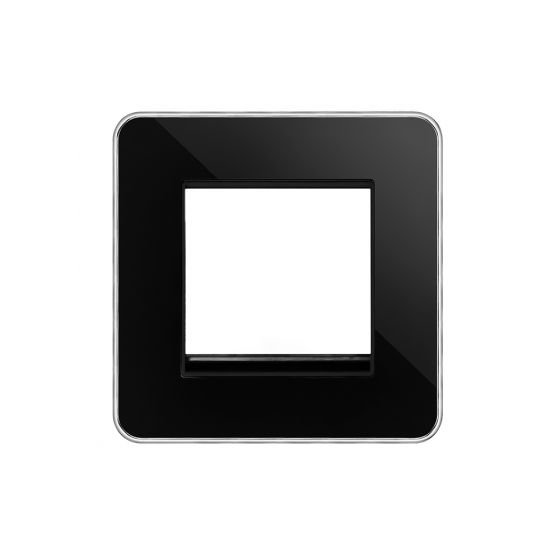 Soho Lighting Black Nickel Plate with Chrome Edge Single Data Plate 2 Modules Blk Ins Screwless