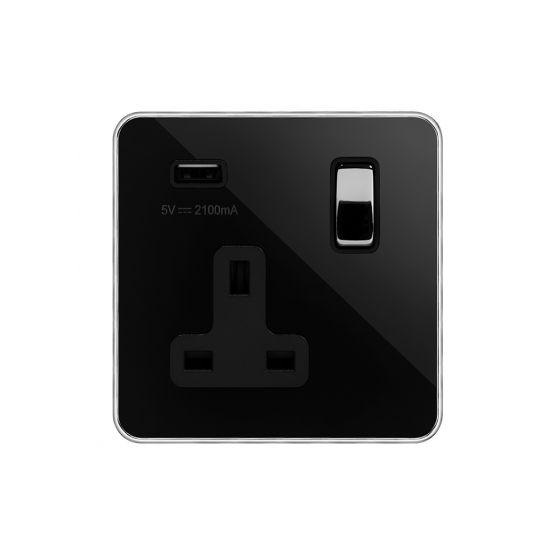 Soho Fusion Black Nickel & Polished Chrome With Chrome Edge 13A 1 Gang DP USB Socket (USB 2.1amp) Black Insert Screwless