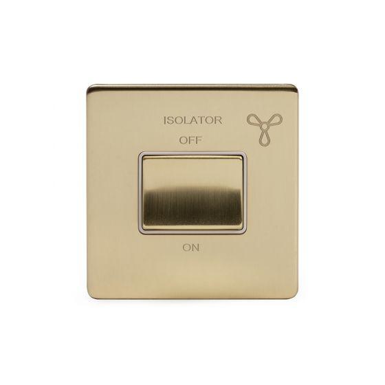 Soho Lighting Brushed Brass 10A 1 Gang 1 Way 3-Pole Fan Isolator Switch Wht Ins Screwless