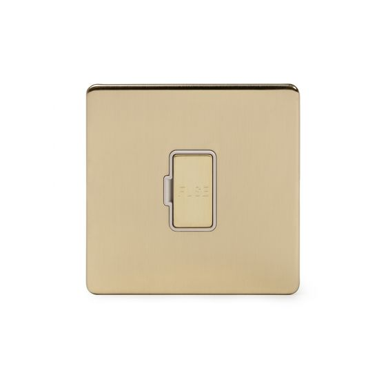 Soho Lighting Brushed Brass 13A Unswitched Fuse Connection Unit Wht Ins Screwless