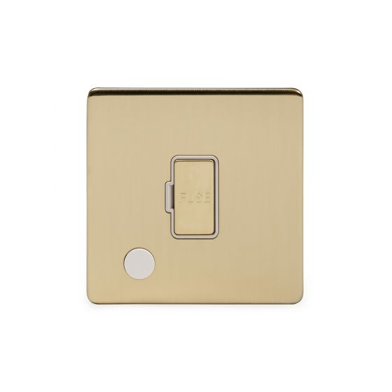 Soho Lighting Brushed Brass 13A Unswitched Connection Unit Flex Outlet Wht Ins Screwless