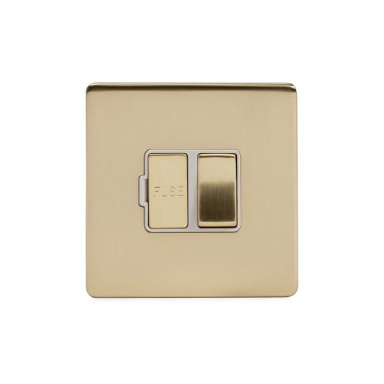 Soho Lighting Brushed Brass 13A Switched Fuse Connection Unit Wht Ins Screwless