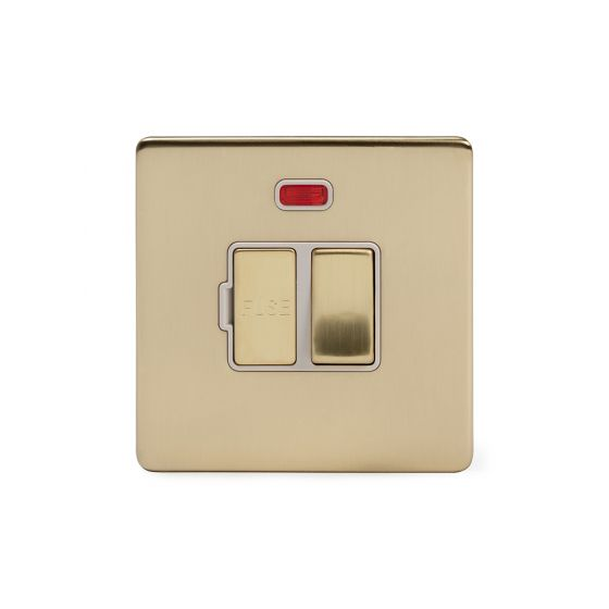 Soho Lighting Brushed Brass 13A Switched Fuse Connection Unit With Neon Wht Ins Screwless