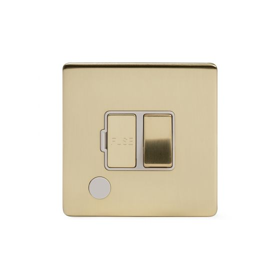 Soho Lighting Brushed Brass 13A Switched Fuse Connection Unit Flex Outlet Wht Ins Screwless