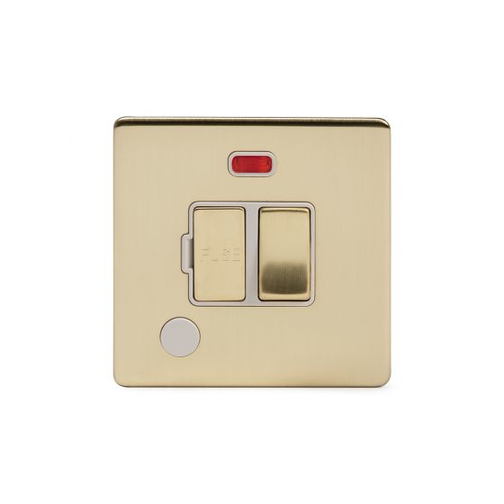 Soho Lighting Brushed Brass 13A Switched Fuse Connection Unit Flex Outlet With Neon Wht Ins Screwless