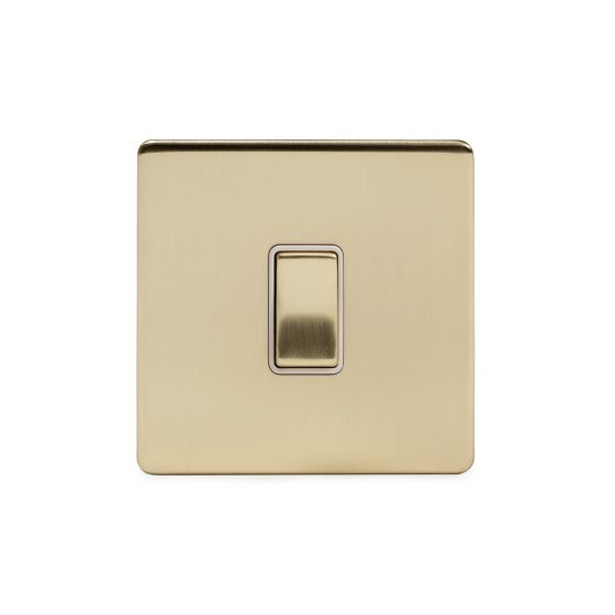 Soho Lighting Brushed Brass 20A 1 Gang Double Pole Switch Wht Ins Screwless