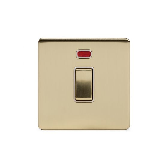 Soho Lighting Brushed Brass 20A 1 Gang Double Pole Switch With Neon Wht Ins Screwless
