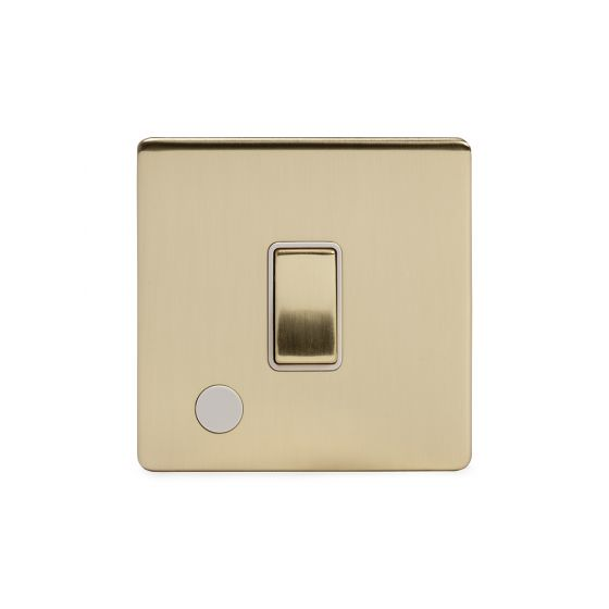 Soho Lighting Brushed Brass 20A 1 Gang Double Pole Switch Flex Outlet Wht Ins Screwless