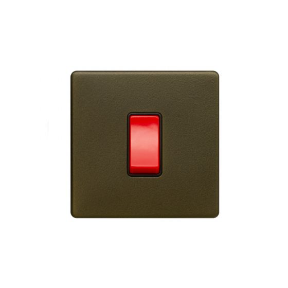 The Eton Collection Bronze 45A 1 Gang Double Pole Switch Sml Plate Screwless