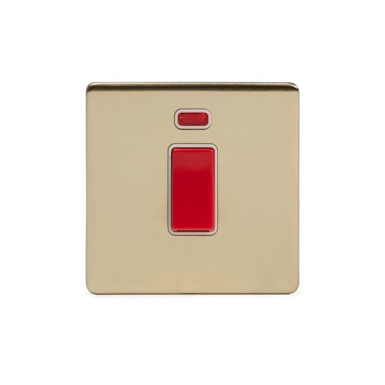 Soho Lighting Brushed Brass 45A 1 Gang Double Pole Switch With Neon