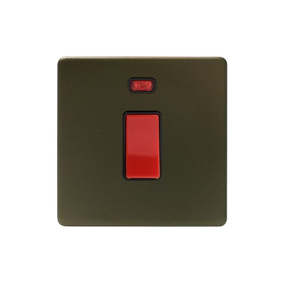 The Eton Collection Bronze 45A 1 Gang Double Pole Switch & Neon (Sml Plate) Screwless