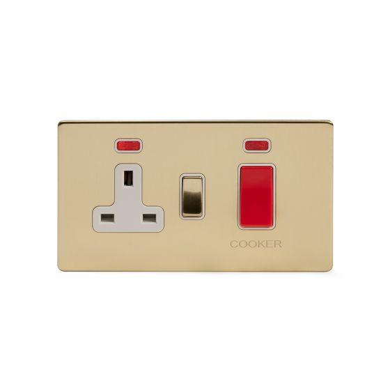 Soho Lighting Brushed Brass 45A Cooker Control Unit With Neon Wht Ins Screwless