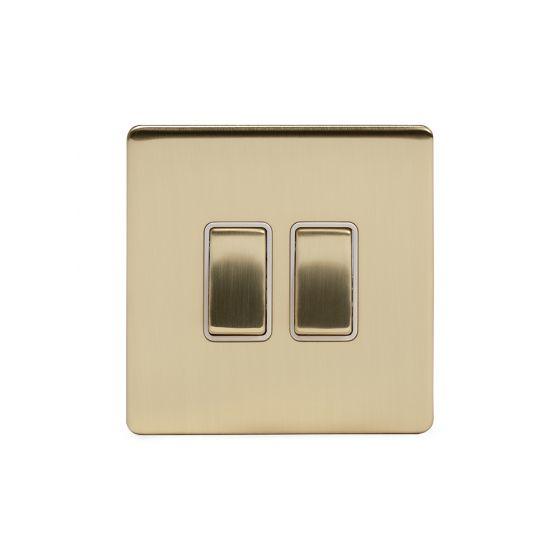 Soho Lighting Brushed Brass 10A 2 Gang 2 Way Switch Wht Ins Screwless