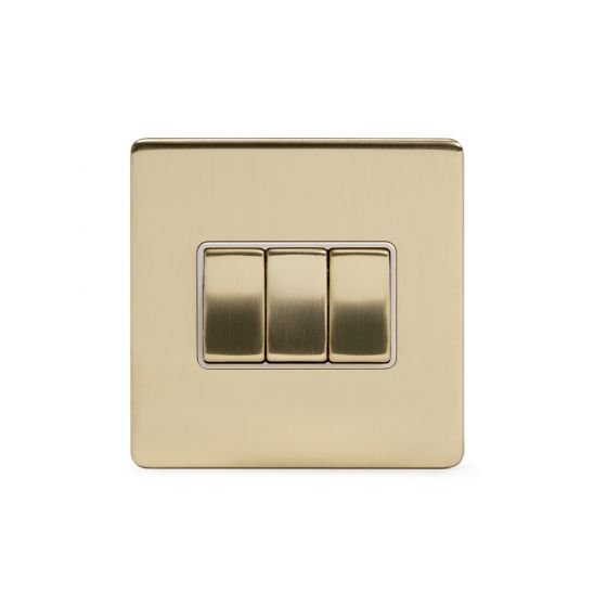 Soho Lighting Brushed Brass 10A 3 Gang 2 Way Switch Wht Ins Screwless