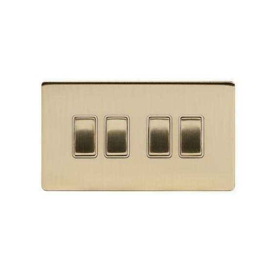Soho Lighting Brushed Brass 10A 4 Gang 2 Way Switch Wht Ins Screwless