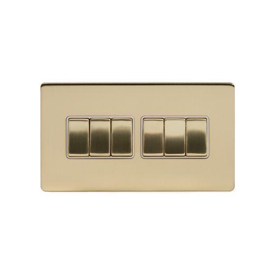 Soho Lighting Brushed Brass 10A 6 Gang 2 Way Switch Wht Ins Screwless