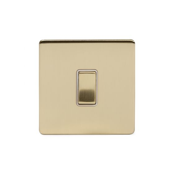 Soho Lighting Brushed Brass 1 Gang Intermediate Switch Wht Ins Screwless
