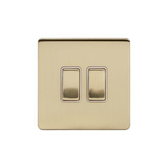 Soho Lighting Brushed Brass 2 Gang Intermediate Switch Wht Ins Screwless